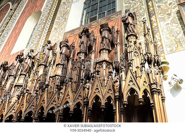 Interior and Choir Stalls of Dominican Church of the Holy Trinity, Krakow, Poland