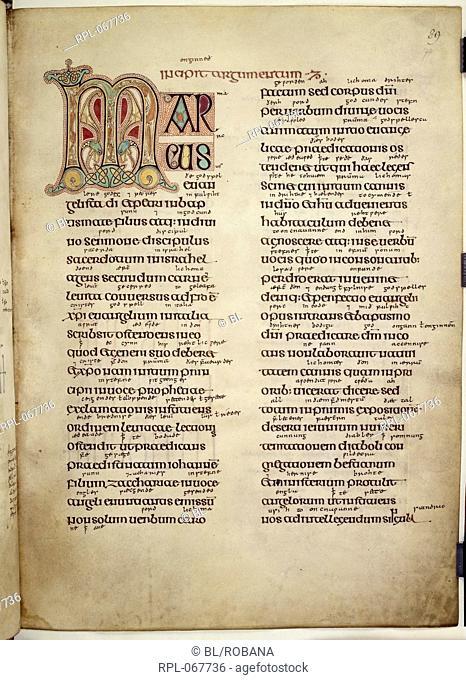 Preface to St Mark's Gospel, Whole folio Preface to St Mark's Gospel, beginning with initial 'M', formed by stylized animal and interlace decoration Image taken...