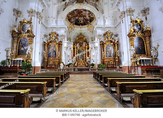 Main altar and side altars in the Monastery Church of the Assumption of the Virgin Mary in Diessen on Lake Ammer, district of Landsberg am Lech, Bavaria