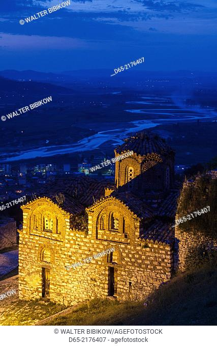 Albania, Berat, Kala Citadel, Church of the Holy Trinity, dusk