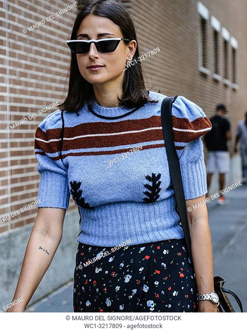 MILAN, Italy- September 20 2018: Julia Haghjoo on the street during the Milan Fashion Week