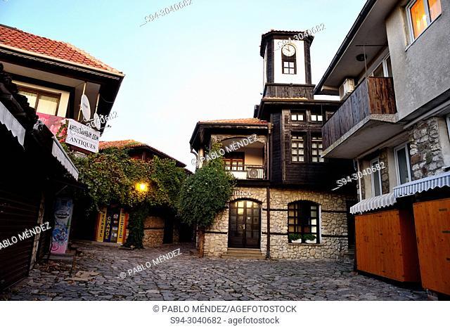 Clock house in the old town of Nesebar, Bulgaria