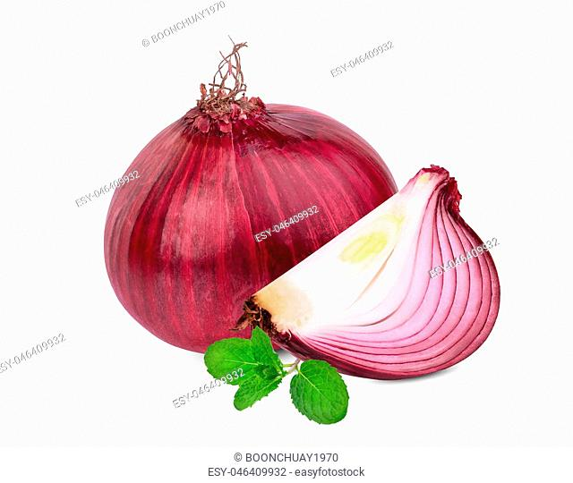 whole and slice red onion with mint leaf isolated on white background