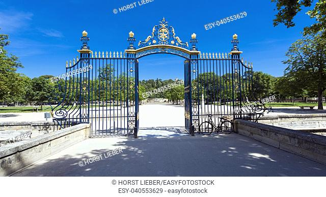 The entrance gate to the Jardin de la Fontaine. Nimes, Gard, Provence, France, Europe