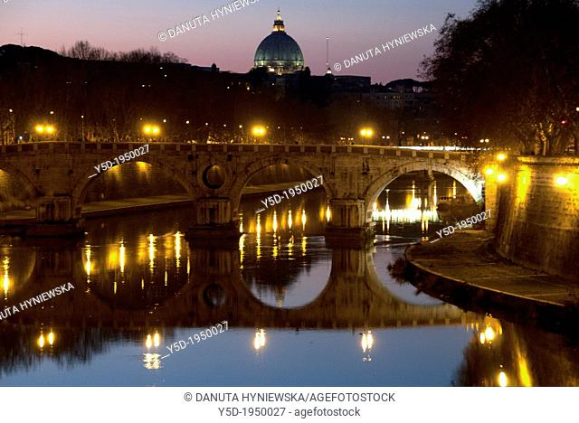 River Tiber at night, Ponte Sisto, Sisto bridge, St Peter's Basilica in far background, Basilica di San Pietro, Rome, Lazio, Italy
