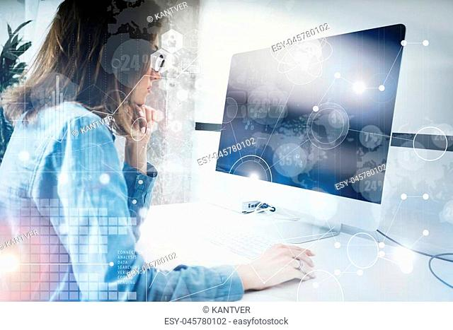 Woman Working Modern Desktop Monitor Hand Use Mouse.Account Manager Researching Process.Business Team New Startup Loft Office