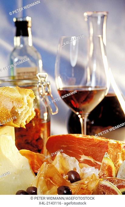 Italian antipasti, prosciutto and red wine