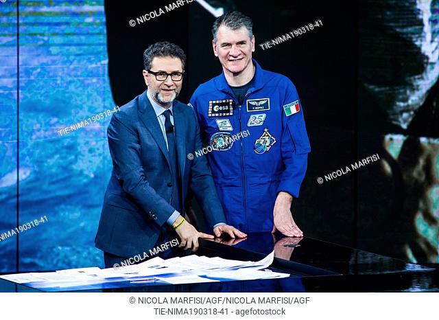 Tv presenter Fabio Fazio, astronaut Paolo Nespoli during the tv show Che tempo che fa, Milan, ITALY-18-03-2018