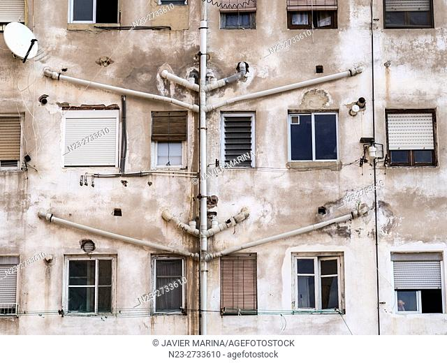 Windows at the back of a building, Valencia, Spain