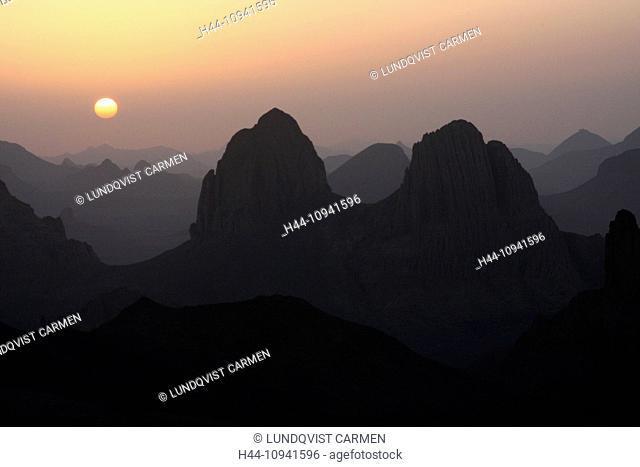 Algeria, Africa, north Africa, desert, stone desert, Sahara, Tamanrasset, Hoggar, Ahaggar, mountain, mountains, Assekrem, Assekrem massif, sunrise, nature