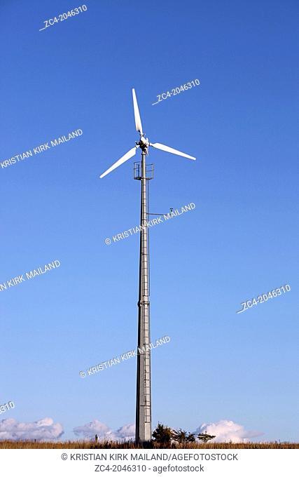 Small household wind turbine. Self sufficiency. Denmark
