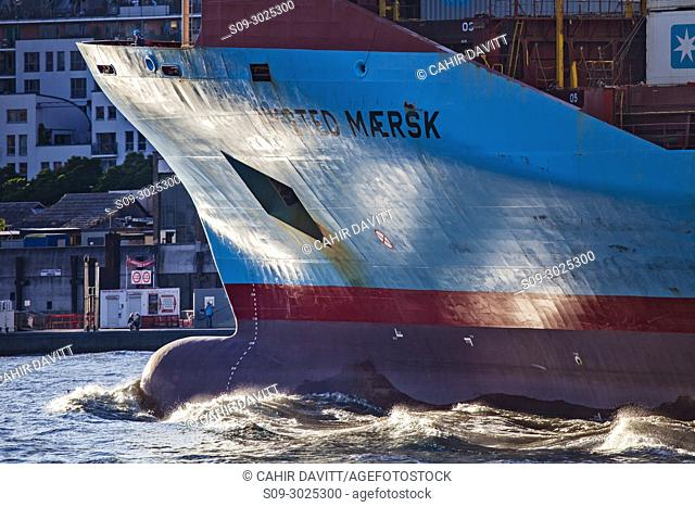 The Danish flagged container ship, the Nysted Maersk leaving Hamburg Port, Hamburg Mitte, Hamburg, Germany