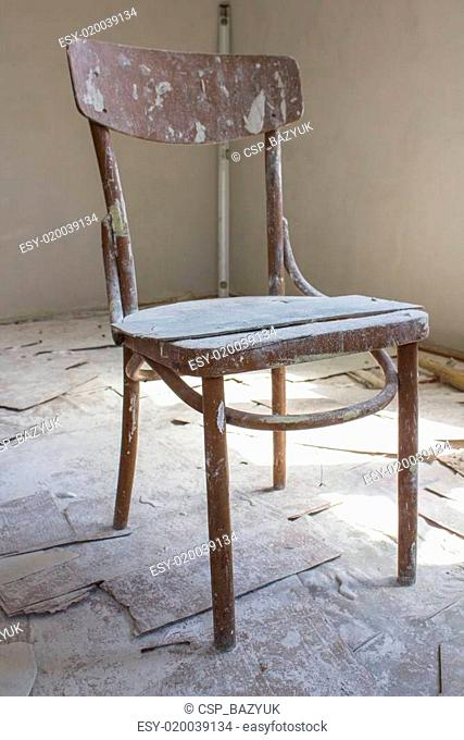 Abandoned wooden chair