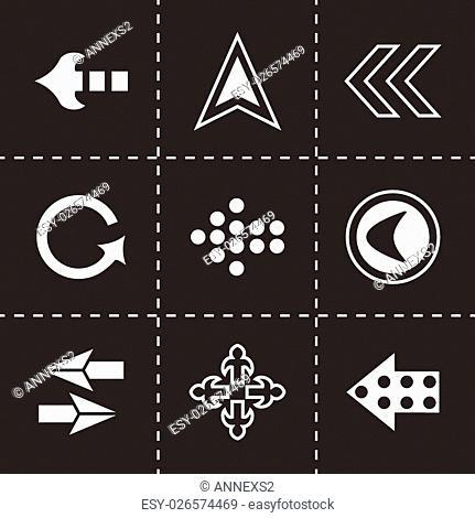 Vector Arrows icon set on black background