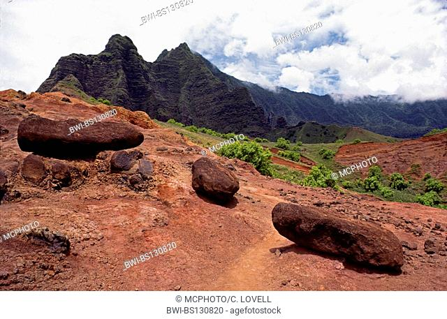 Hike inland to KALALAU VALLEY from the NA PALI COAST on the KALALAU TRAIL, Hawaii, KAUAI