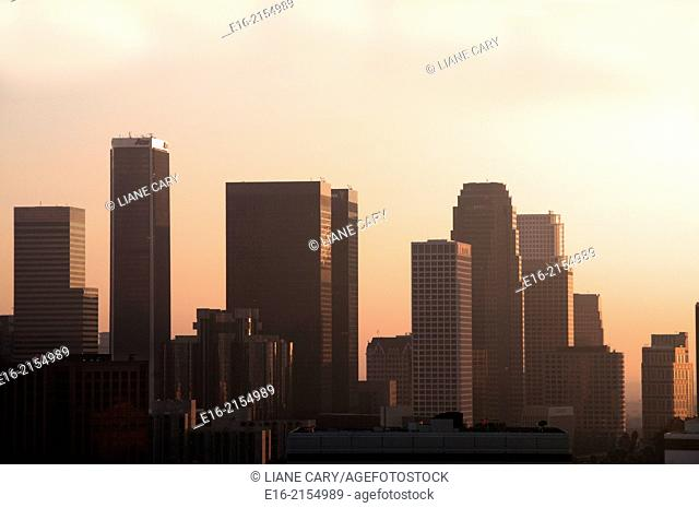 view of downtown los Angeles in the evening