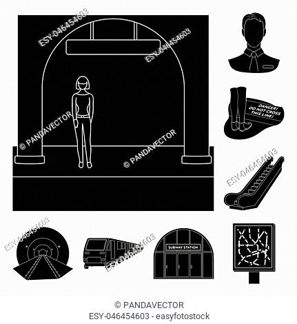 Metro, subway black icons in set collection for design.Urban transport vector symbol stock illustration