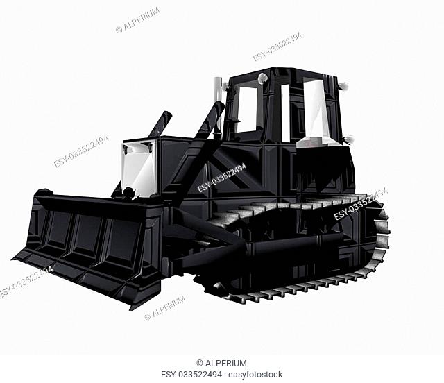 3D tractor isolated on a white background