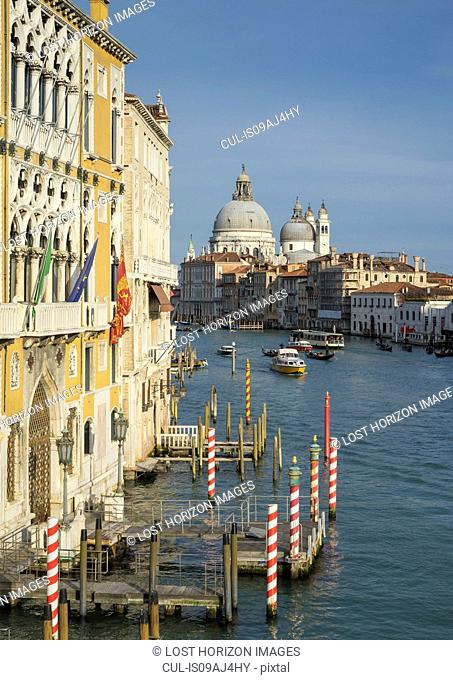 View of the church of Santa Maria Della Salute from the Grand Canal, Venice, Veneto, Italy