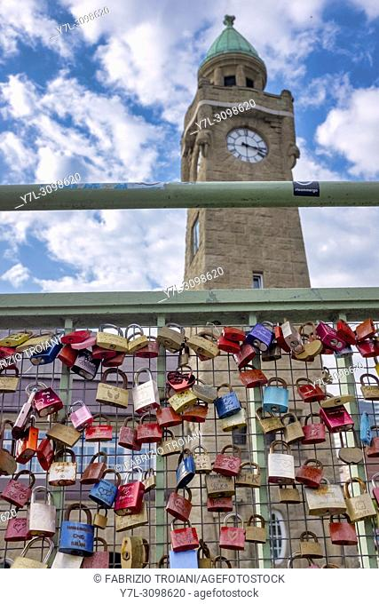 Love locks on the bridge to the St. Pauli Piers, Hamburg, Germany