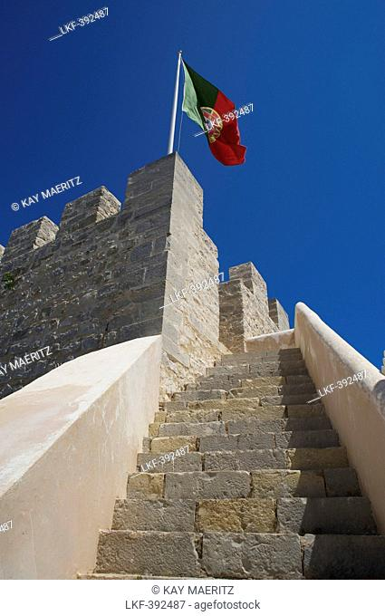 Fortress tower and Portuguese flag at Loule, Loule, Algarve, Portugal, Europe
