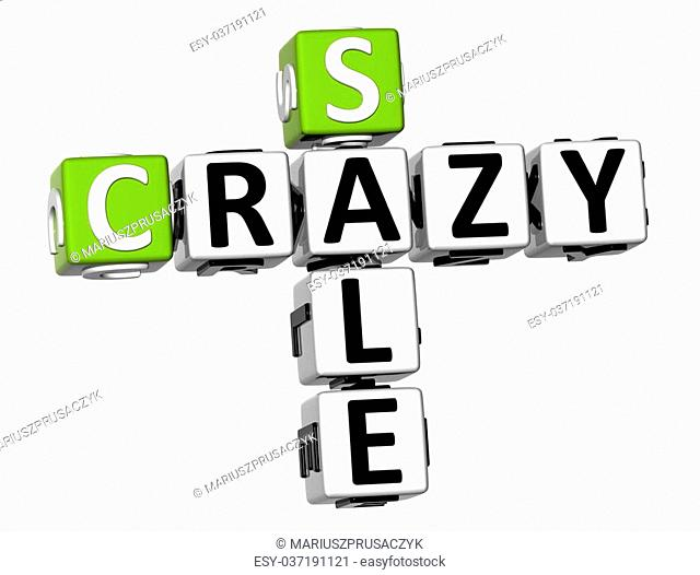 3D Crazy Sale Crossword on white background