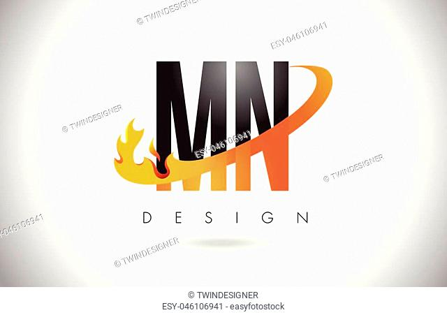 MN M N Letter Logo Design with Fire Flames and Orange Swoosh Vector Illustration