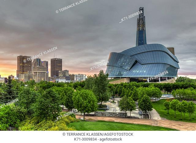 The city skyline of Winnipeg, Manitoba Canada from The Forks National Historic site