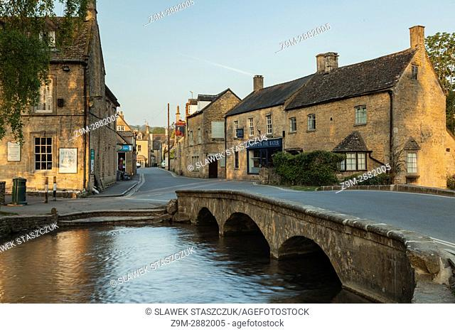 Spring morning in the Cotswold village of Bourton-on-the-Water, Gloucestershire, England