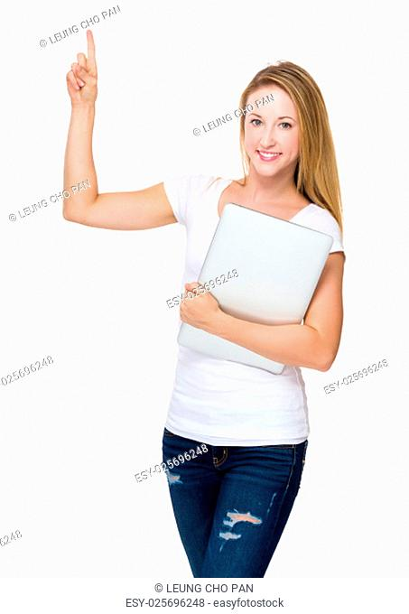 Woman hold with laptop computer and finger point up