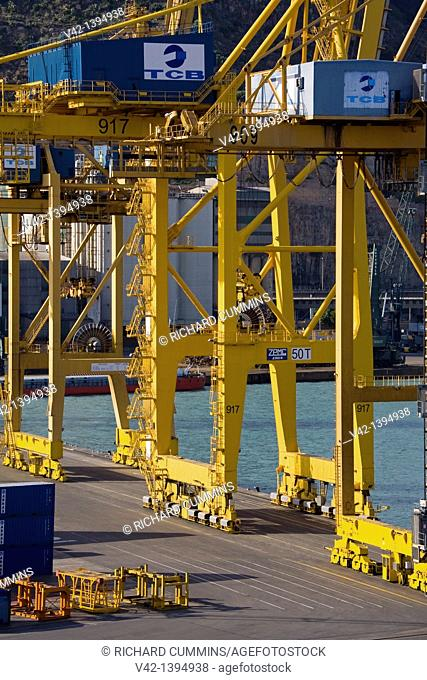 Cranes in the container Port, Barcelona, Catalonia, Spain, Europe
