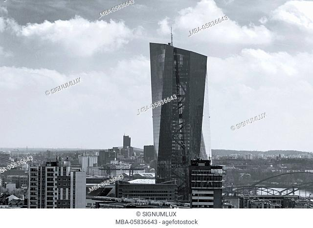 Europe, Germany, Hessia, Frankfurt, skyline with new building of the European Central Bank
