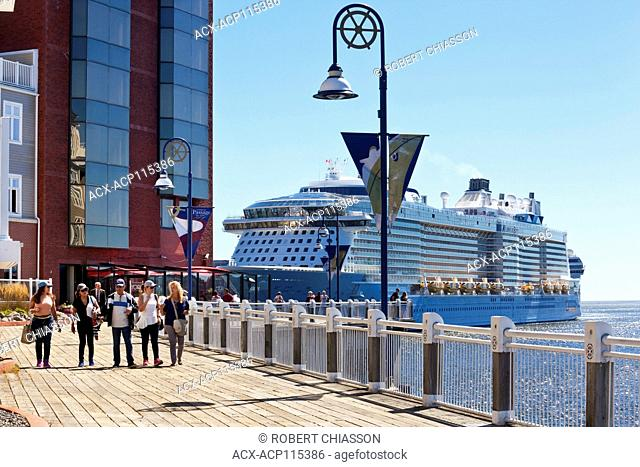 Boardwalk along the North Market Wharf and beyond is Royal Caribbean's Anthem of the Seas docked at the Marco Polo Cruise Terminal