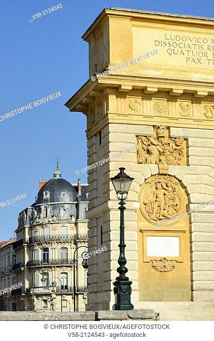 France, Herault, Montpellier, Porte du Peyrou (17th C)