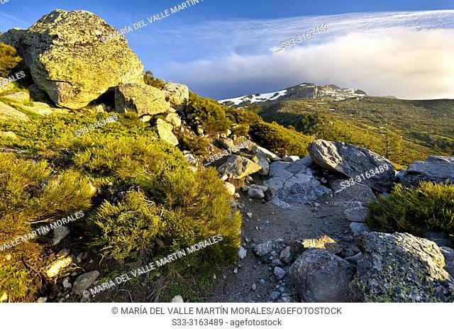Penialara peak from the lagoons track. Sierra de Guadarrama. Madrid. Spain