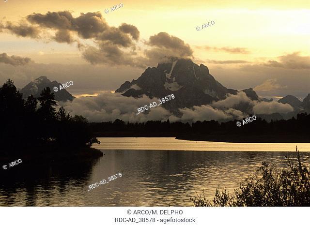 Snake River and Mount Moran at dusk Grand Teton national park Wyoming USA