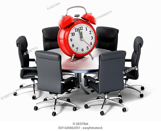 Red alarm clock on round business table isolated on white background. 3D illustration