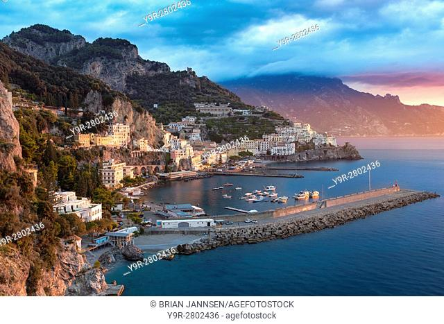 Sunrise view of Amalfi, Gulf of Salerno, Campania, Italy