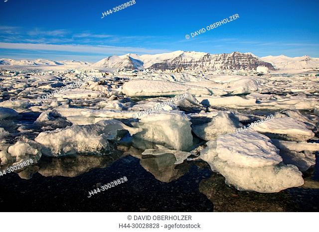 Mountains, ice, floes, Europe, glacier lagoon, Island, Jökulsarlón, sceneries, volcano island, water, winter