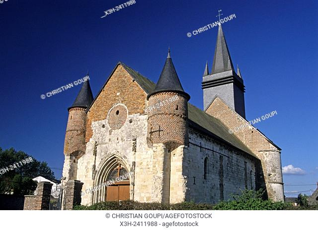 fortified church of Morgny-en-Thierache in the Thierache region, Aisne department, Picardy region, northern France, Europe