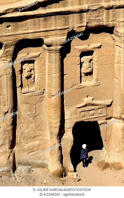 The façade of the Roman Soldier's Tomb, carved out of a sandstone rock face. Jordan (Hashemite Kingdom of), Ma'an Governorate (Maan), ancient city of Petra