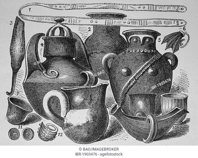 Schliemann's excavations, historical woodcut, circa 1880