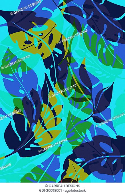 Tropical leaves layered over blue background
