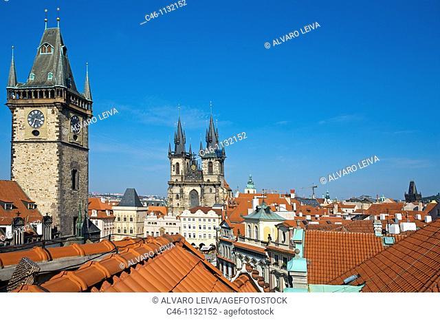 Astronomical Clock.Tyn church. Old town square. Staromestske Namesti. Prague. Czech Republic
