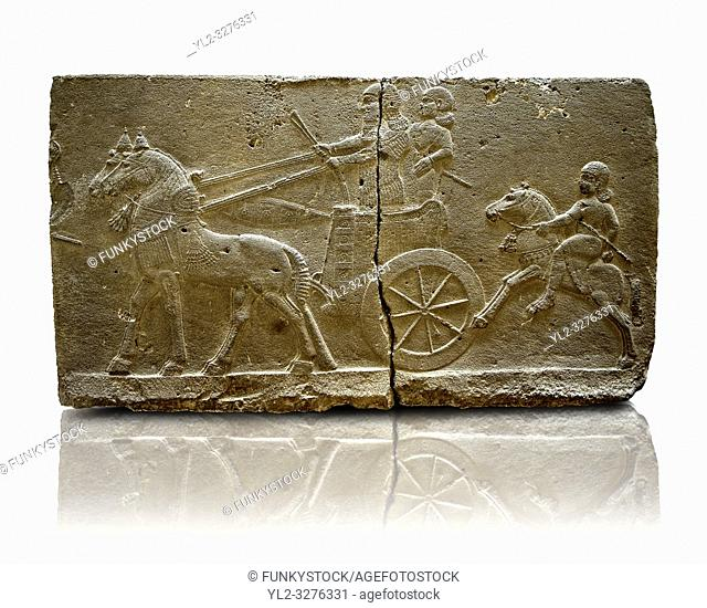 Sculpted Assyrian relief panels of Royal Chariot & Guards from Hadatu ( Aslantas ) around 800 B. C. Istanbul Archaeological museum Inv No. 1946