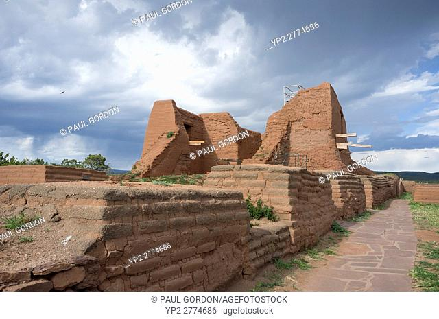 Pecos, New Mexico: The ruin of Mission Nuestra Señora de los Ã. ngeles de Porciúncula de los Pecos under renovation at Pecos National Historical Park