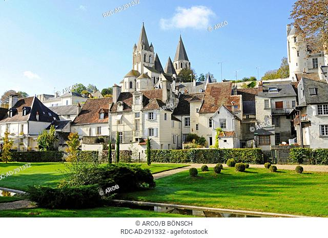 Chateau de Loches, castle, Saint-Ours church, Logis Royal, residence, castle hill, Loches, Tours, Departement Indre-et-Loire, Centre, France