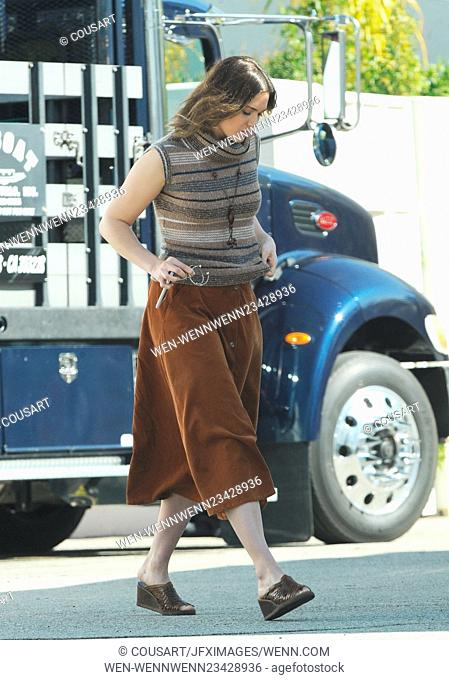Mandy Moore dons 70s attire on the set of the a Dan Fogelman project filming in Pasadena Featuring: Mandy Moore Where: Los Angeles, California