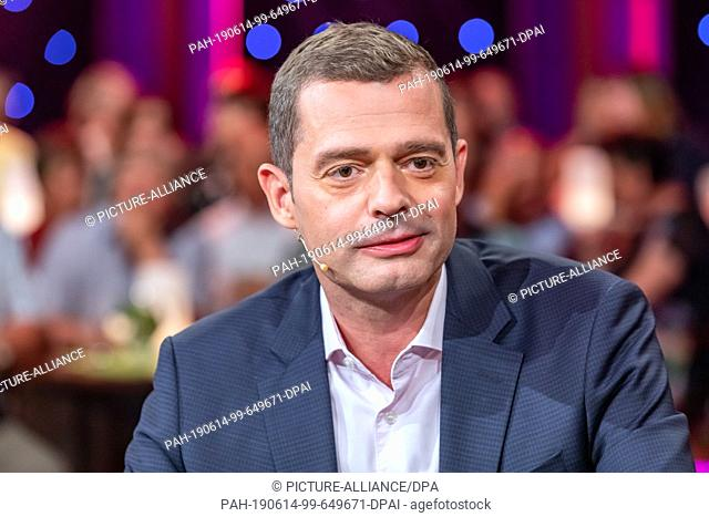 """07 June 2019, Saxony, Leipzig: The CDU politician Mike Mohring, recorded at the MDR talk show """"""""Riverboat"""""""" on 07.06.2019 in Leipzig"""
