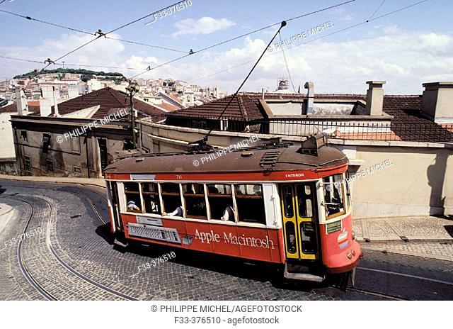 Tramway. Calçado do Francisco. Lisbon. Portugal